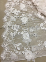 3meters one pcs BB0020 # offwhite 3d flower french tulle lace fabric for bridal gown wedding/ sawing dress