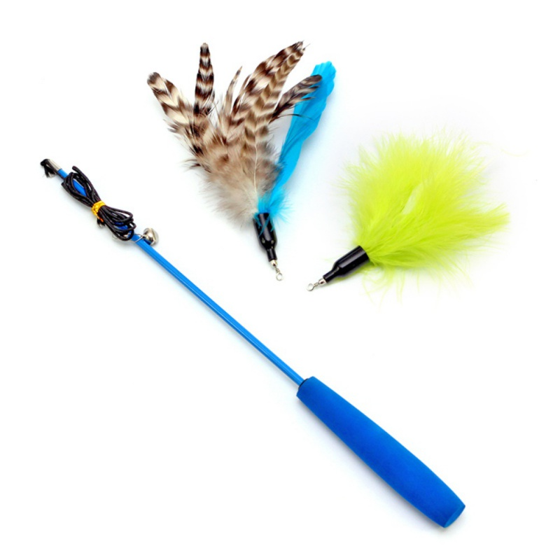 3Pcs/Set Fuuny Pet Fit For Life Retractable Wand with 2 Feathers Kitten Cat Toy Interactive Cat Gatos Wand