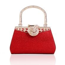 High-end-gold metall hochzeit kleid prinzessin tasche handtasche clutch damen matt diamant party prom abendessen abendtasche mit griff