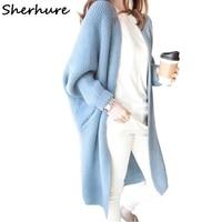 Sherhure 2018 Women Sweater Batwing Sleeve Loose Knitted Women Cardigans Autumn Women Long Cardigans Coat Warm Cape Women Poncho