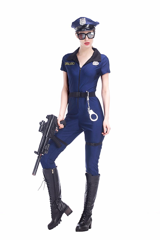 Adult Women Halloween Police Cops Catsuit Costume Sexy -2601