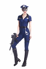 Adult Women Halloween Police Cops Catsuit Costume Sexy Blue Uniform Fancy Cool Cosplay Clothing Outfit For Girls Plus Size