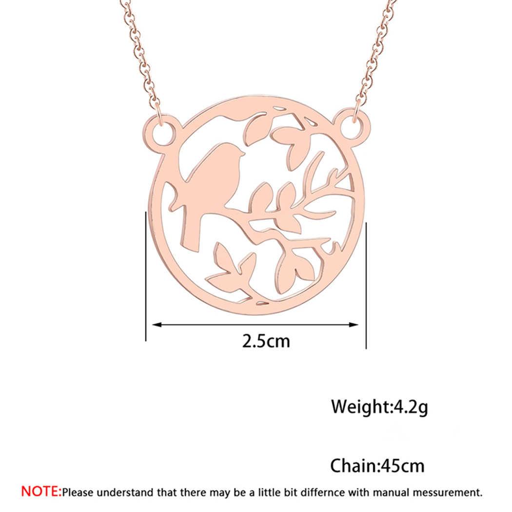 Cxwind ステンレス鋼鳥に分岐チャームペンダントネックレスファッション動物チョーカージュエリーの女性鎖骨襟ビジュー