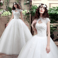 Vestido De Noiva Lace Ball Gown Wedding Dresses 2018 High Neck Gelinlik Corset Back Weddings Bridal