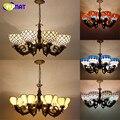 Breve Qualidade Arte Vitral Tiffany Luminária 8 luzes de Suspensão Luzes Luzes de Lobby Do Hotel Do Projeto Shopping Luz Pingente