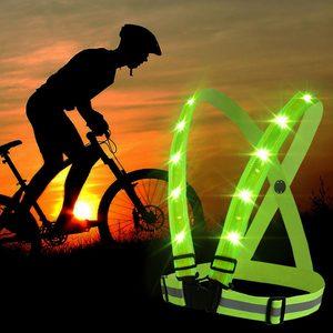 Image 3 - Ayarlanabilir USB şarj edilebilir led lamba yansıtıcı kemer yelek koşu bisiklet ışık gece korumak için güvenlik güvenlik yeşil