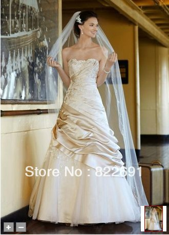 David S Bridal Satin Ball Gown Liques Tulle Underlay Style Champagne Wedding Dresses In From Weddings Events On Aliexpress