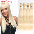 Top Quality Blonde Brazilian Hair Weave Bundles Brazilian Virgin Hair Straight 4 Bundles Deals 613 Blonde Human Hair Extensions