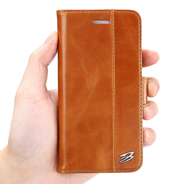 Top Quality First Layer Cowhide Genuine Leather Cover Magnetic Wallet Case Card Slot for IPhone 6 7 8  Plus Samsung S7 Edge S8