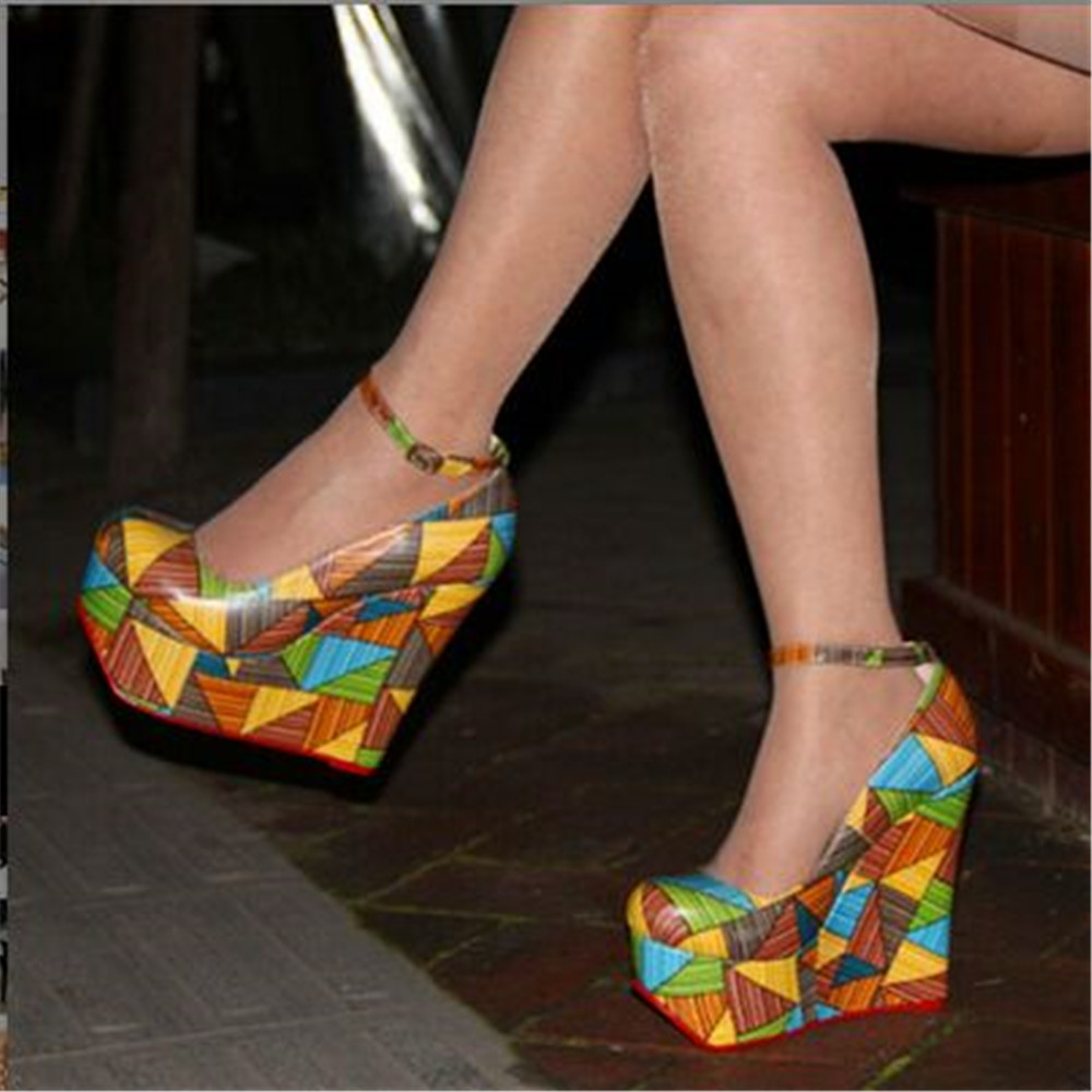 FGHGF NEW Free Post color leather ankle straps waterproof 4 5 cm 16 cm wedge heel