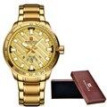 2017 moda mens relógios top de luxo da marca naviforce militar do exército de aço relógio de ouro masculino relógio de quartzo dos homens do esporte relogio masculino