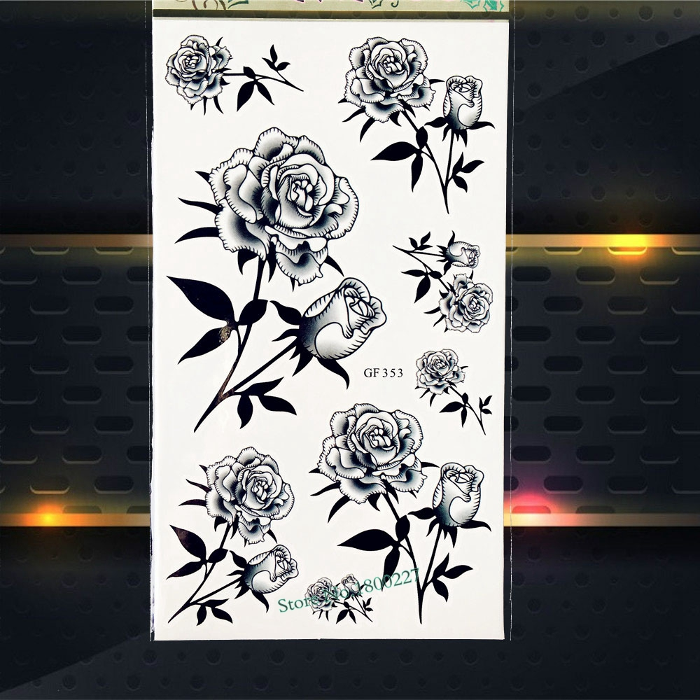 Sexy Roses Flower Henna Tattoo Stickers Temporary Waterproof Tattoo Makeup PGF353 Women Body Arm Fake Tattoos Sticker