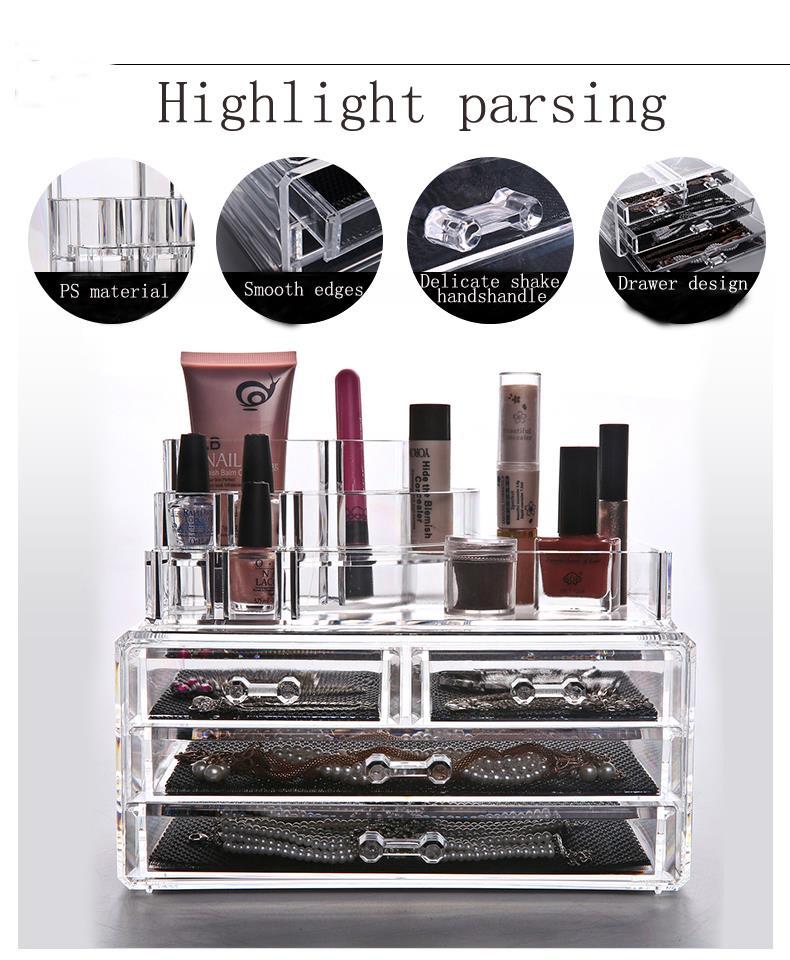 Transparent Makeup Box Acrylic Cosmetics Organizer Desktop Clear Box