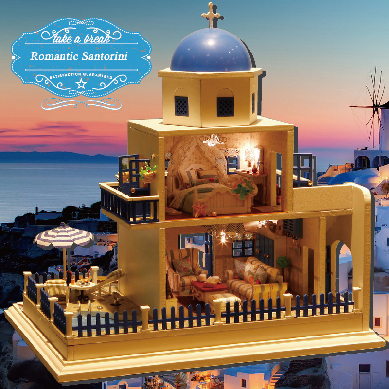 DIY Doll House Miniature Dollhouse With Furnitures 3D Wooden Handmade Toys Gift Santorini Island A026 #E wooden handmade dollhouse miniature diy kit caravan