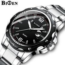355985a9764a BIDEN de marca de lujo de calendario de cuarzo de los hombres de negocios  reloj impermeable par de acero inoxidable deporte relo.