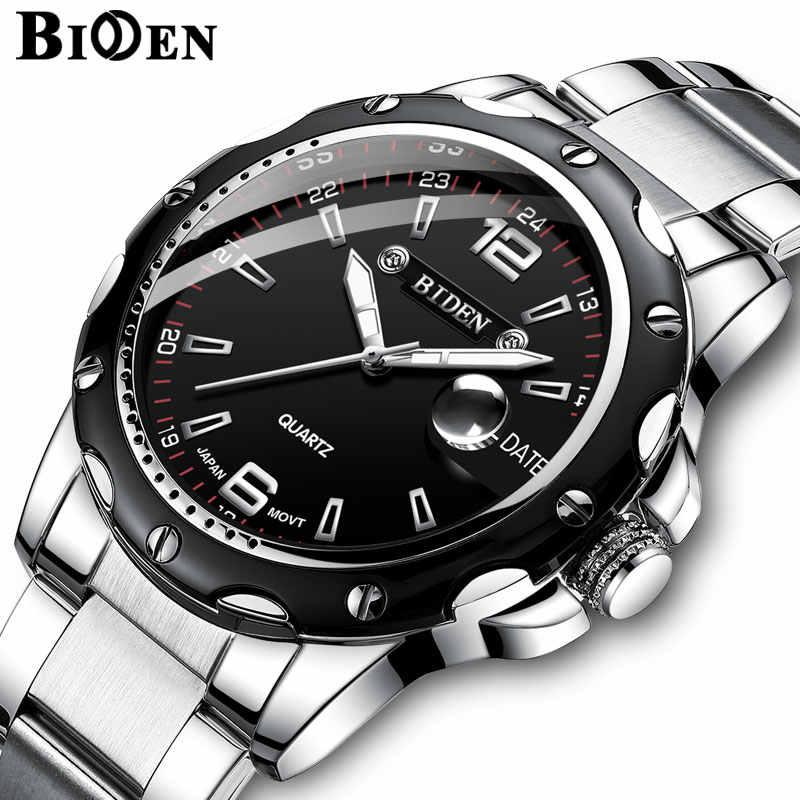 BIDEN luxe marque calendrier Quartz affaires hommes montre étanche en acier inoxydable Sport montre-bracelet homme horloge relogio masculino