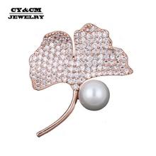 Simple Imitation Pearl Cubic Zirconia Brooch Female Ginkgo Leaf Zircon Fashion Pin Brooch Overcoat Rose Gold Jewelry Accessories
