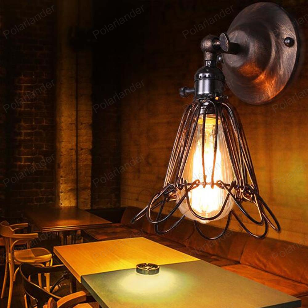 ФОТО American industrial birdcage wall lamp cafe bar restaurant black iron shade creative lighting