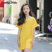 Kseniya Kids Fashion Summer Casual Knitted Short Sleeves Cotton Girls Dresses Girls Dresses Age 13 Casual Dress Girl Clothing