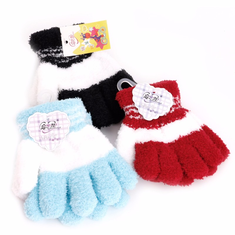 New Kids Gloves Girl Boys Fleece Soft Full Gloves Finger Warm Winter Accessories Mittens ...