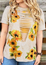 лучшая цена Hollow Out T Shirt Women Sunflower Print Top Tees 2019 Summer Sexy Tops Casual Flowers Print T-shirt Tees Female Top Lady