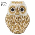 Women's Animal Metal Evening Bags Gold Owl Crystal Diamond Shoulder Handbags Purses Bridal Wedding Party Hard Case Box Clutches