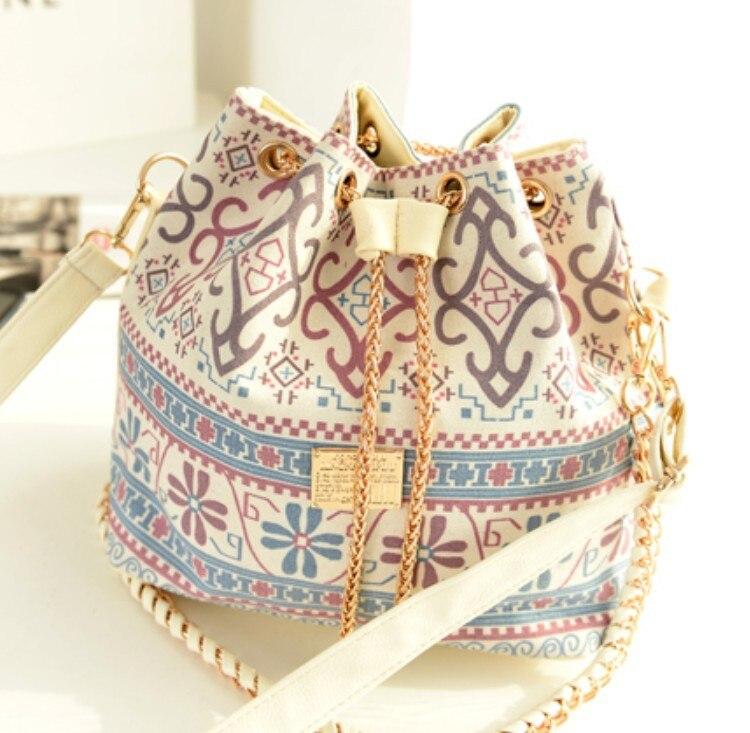 Bohemia Style Canvas Drawstring Bucket Bag Shoulder Handbags Messenger Bags Bolsa Feminina Bolsos