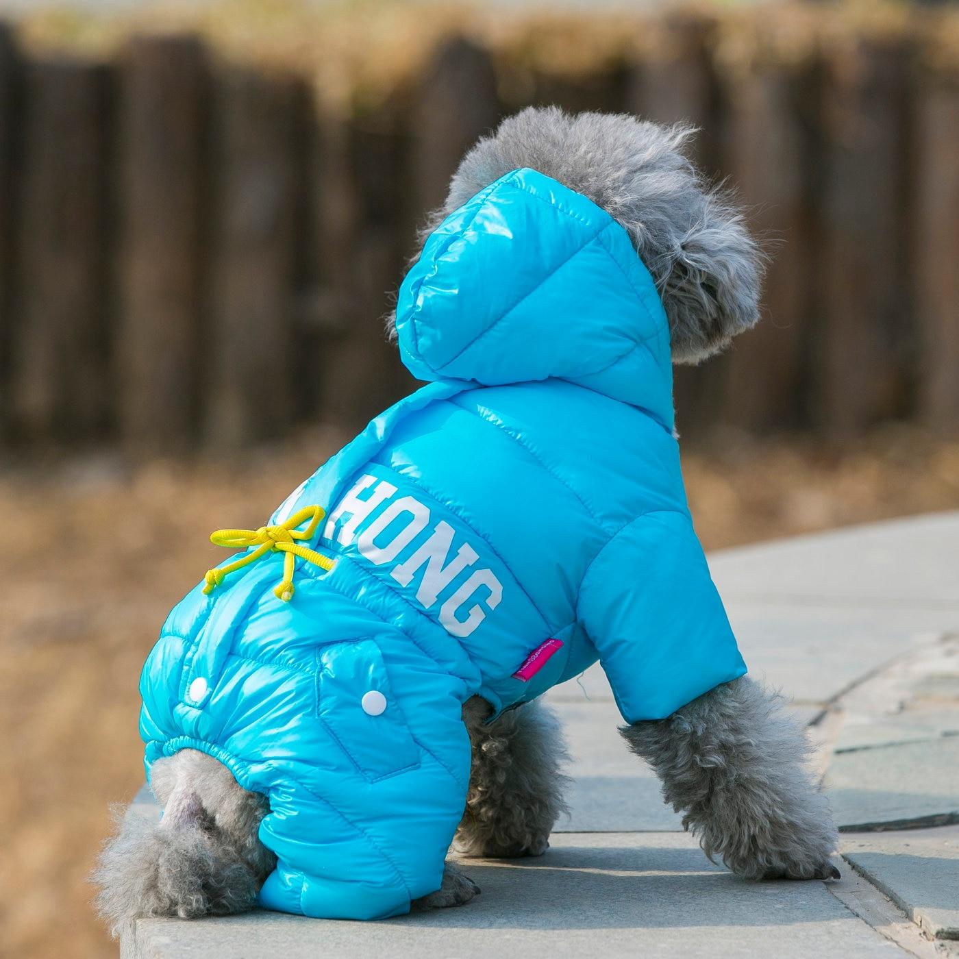 Warm Winter Outfit for Dog Pet Jumpsuit Fur Hoodies Pet Overalls Cat ...