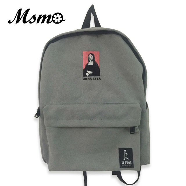 5b5f101f0f MSMO New Ulzzang Harajuku Embroidery Printing Backpack Women Daily Backpack  For Teenage Girls College Style Casual
