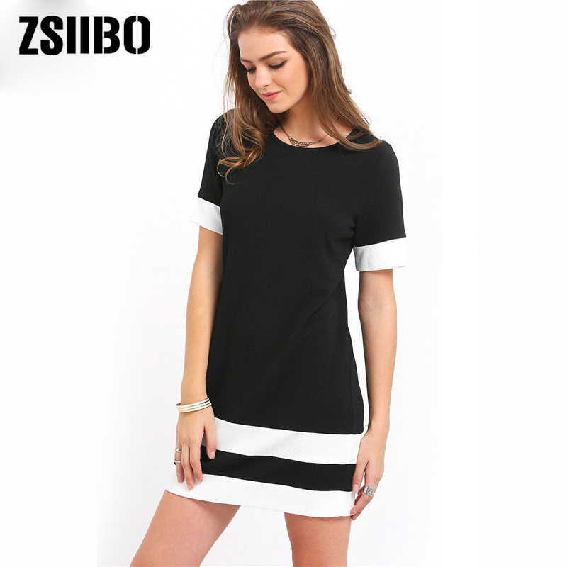 3fa71e64066 Women Beach Dress 2019 summer Casual Patchwork O-Neck Short Sleeve Loose  Mini Dress Vestidos Plus Size Women Clothes