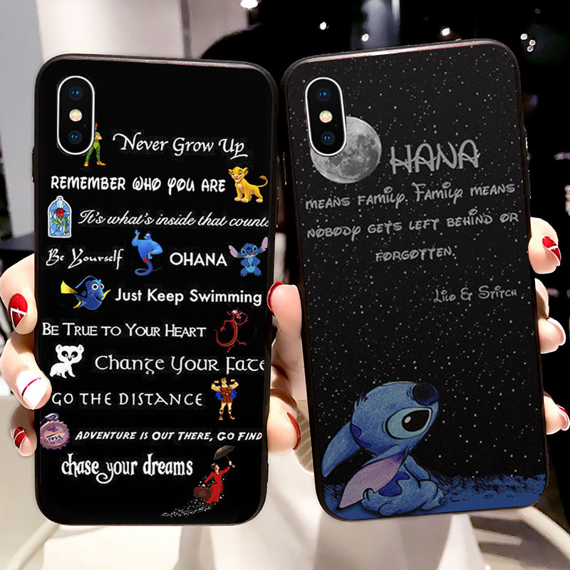 Lilo Stitch Quotes Case Ohana Soft Silicone Phone Case For Xiaomi mi a1 a2 9 8 lite Cover Fundas Capinha Coque