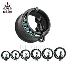 KUBOOP 10PCS Ear Piercing Tunnels Gauges Plugs Stretcher Body Jewelry Cute cat Design Crystal Stainless Steel Expander Earrings