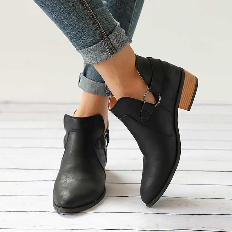 MCCKLE נשים קרסול מגפי עקב נמוך נעלי אישה אבזם עקבים בתוספת גודל נשי מזדמן להחליק על מגפיים קצרים נשים של הנעלה