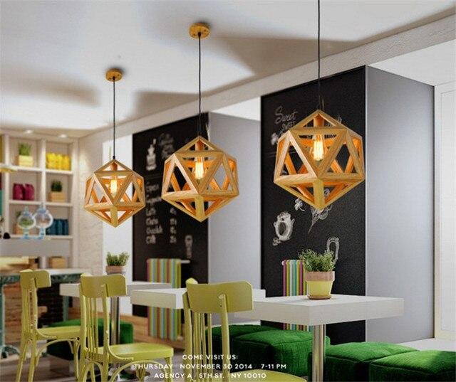 Nordic Mordern Wooden Diamond Ball E27 110/220V 40/45cm Wood Pendant Lights Droplight Hanging Lamp For Home Cafe bar reasterant