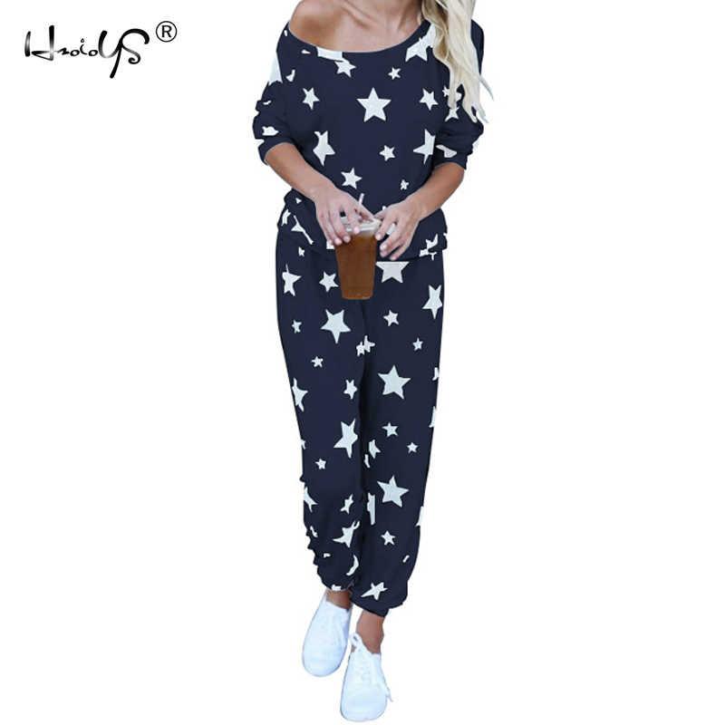 960f774d61 Star Printed Autumn Winter Women Pajama Set Soft Comfortable Pyjamas Home Suit  Women s Sleepwear Top and