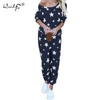 Star Printed Autumn Winter Women Pajama Set Soft Comfortable Pyjamas Home Suit Women's Sleepwear Top and Pants Pajamas Set