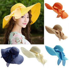 eb03566a Women Colorful Big Brim Straw Hat Sun Floppy Wide Brim Hats New Bowknot  Folding Beach Cap