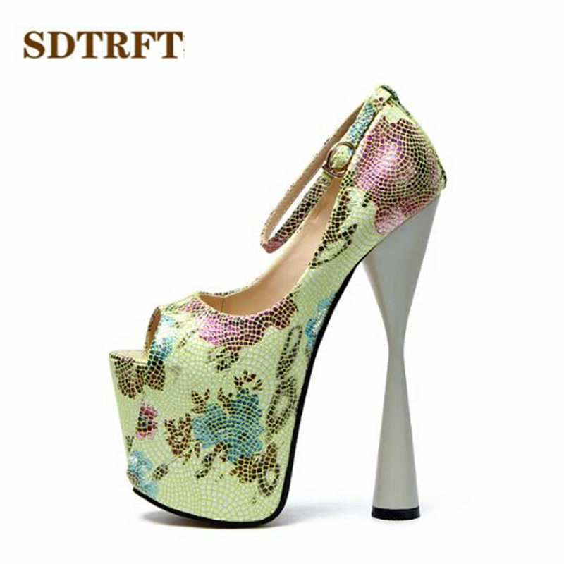 SDTRFT: 34-42 43 zapatos mujer Peep Toe talons aiguilles 20 cm plate-forme talons sexy SM chaussures femme boucle sangle pompes de mariage