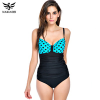2016 New Vintage Plus Size Swimwear Women One Piece Swimsuit Retro Print Backless Large Bathing Suits