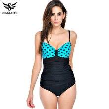 NAKIAEOI 2017 New Vintage Plus Size Swimwear Women One Piece Swimsuit Retro Backless Large Bathing Suits Beach Padded Swim Wear