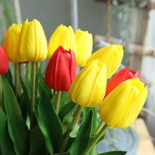 10 Pcs Real Touch Artificial Tulip Flowers Fake Flower Bridal for Wedding Party PU Tulips