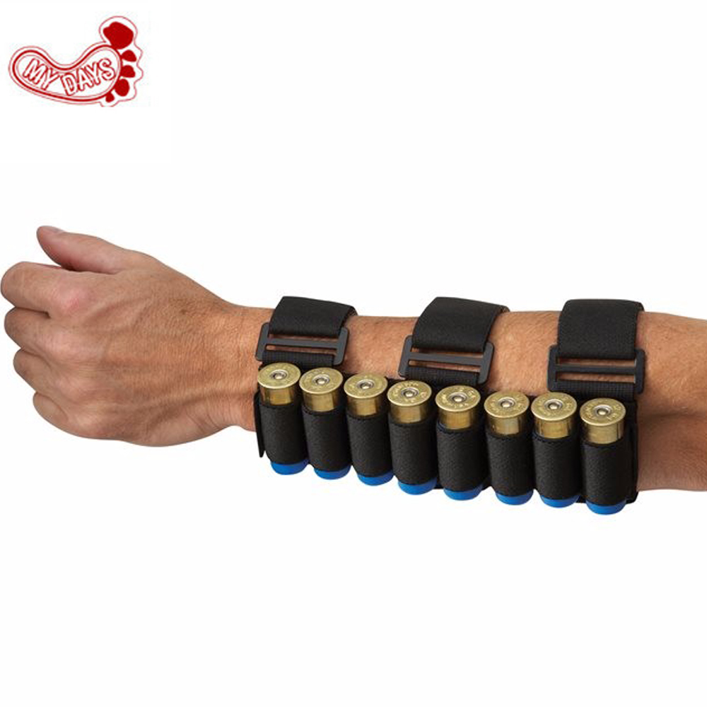 MY DAYS 2017 NEW black Removable Portable Arm Tactical Shotgun Shell Pouches for Shooter's Forearm 12 GA Ammo Cartridge Stock image