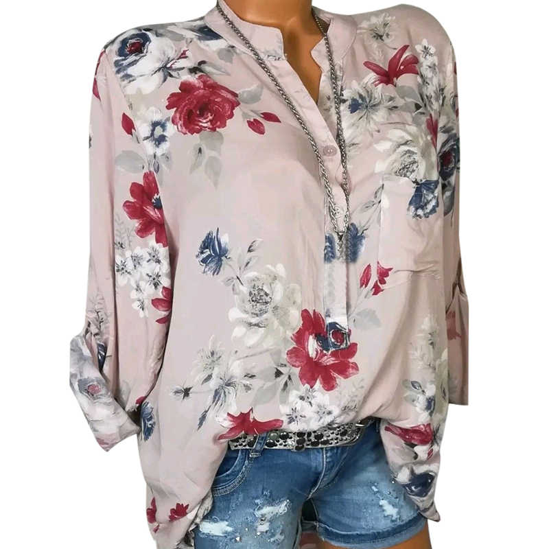 3db94e11 ... LASPERAL 2019 Women Summer Autumn Long Sleeve V Neck Women Blouse  Floral Print Irregular Shirts 5XL ...