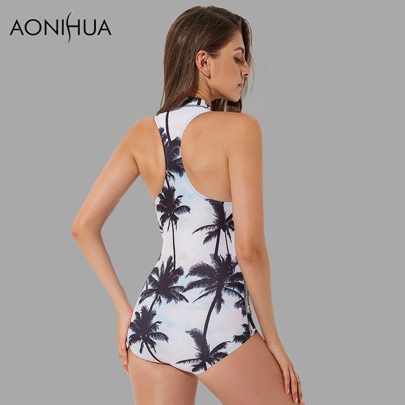 AONIHUA Palm Print Басып шығару One Piece Swimsuit - Спорттық киім мен керек-жарақтар - фото 2