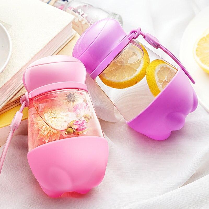 한국 귀여운 유리 병 휴대용 물 컵 패션 커피 차 잔 - 주방, 식당 및 바 - 사진 2