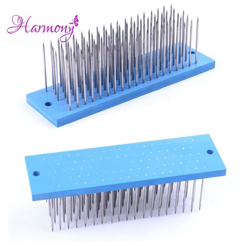2 pcs/lot couleur bleue cheveux Hackle 93 dents en acier inoxydable aiguilles Hackles pour cheveux crus faisant des cheveux en vrac Extensions de cheveux usine
