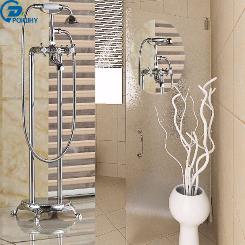 POIQIHY Free Standing Chrome Finished Two Styles Clawfoot Bathroom Tub Faucet with Hand Shower Sprayer