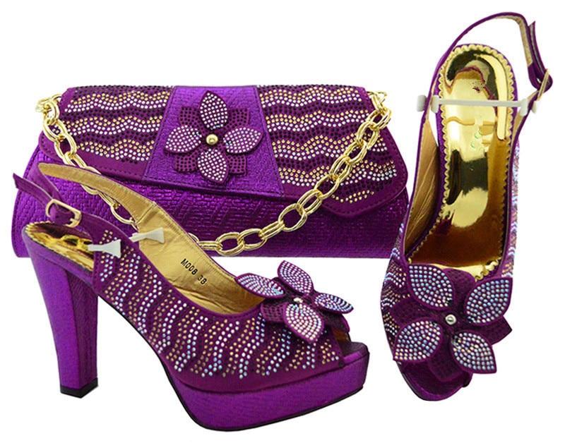 Новое поступление фиолетовый с хорошо стразами Свадебные/вечерние туфли с сумочкой комплект M006 Высота каблука 11 см