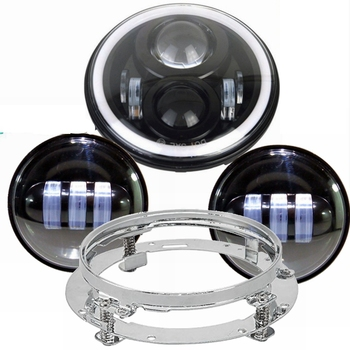 """For Electra Glide Road King Street Glide 7"""" Motorcycle  Led Headlight with Monting Ring +2X Fog Lights"""