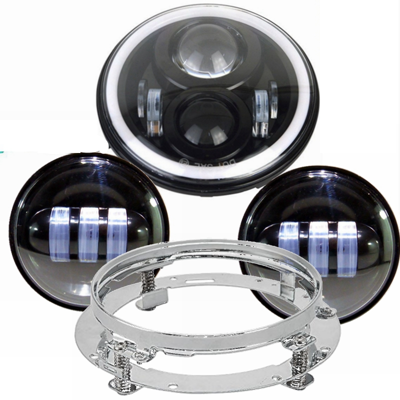 For Harley Davidson Electra Glide Road King Street Glide 7 Motorcycle Daymaker Led Headlight with Monting Ring +2X Fog Lights 7 inch led headlight motorbike suit 7headlight monting ring fog lights for harley davidson electra glide road king street glide